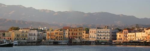 Sunrise over Chania's Venetian Harbor, as seen from the lighthouse