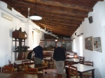 The restaurant is built over an old olive mill and press. Original equipment can be seen.
